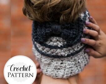 Messy Bun Hat CROCHET PATTERN - Bun Hat with Bow Pattern - Ponytail Hat Crochet Pattern - Striped Bun Beanie Pattern - Ponytail Beanie