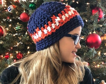 Navy Blue and Orange Winter Hat - Ready to Ship Hat - Crochet Winter Hat - Gift for Her
