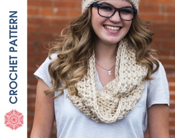 One Hour Infinity Scarf CROCHET PATTERN - Crochet Infinity Scarf Pattern - Quick Crochet - Beginner Crochet - Wrap Scarf - Circle Scarf