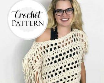 Fringed Crop Top CROCHET PATTERN - Mesh Shrug Pattern -  Boho Crop Top Pattern - Crop Sweater Crochet Pattern - Modest Festival Top Pattern