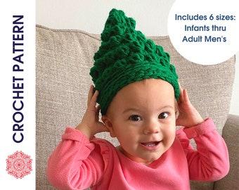CROCHET PATTERN | Christmas Tree Beanie, Bobble Tree Hat, Bobble Christmas Tree Toque