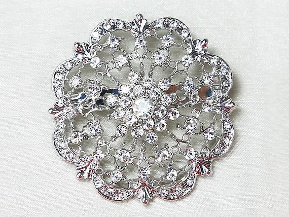 10x Wholesale Brooches Clear Crystal Rhinestone Brooch Wedding Etsy