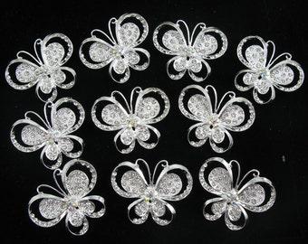 10x Butterfly Clear Crystal Rhinestone Brooch Pins Wedding Bridal Rhinestone Bouquet Brooch Invitation Decor Embellishment Wholesale Brooch