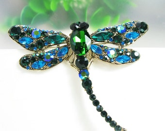 Gold-Tone Turquoise Green Rhinestone Crystal Brooch Pin Wedding Brooch Costume Pin Bouquet Brooch Women Ornament Animal Dragonfly Brooch Pin