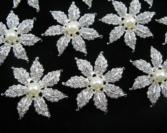Wholesale 10x Vintage Crystal Rhinestone Brooch Pin Wedding Bridal Bouquet Decor
