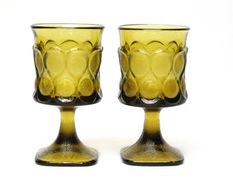 2 Noritake Spotlight goblet stems olive green
