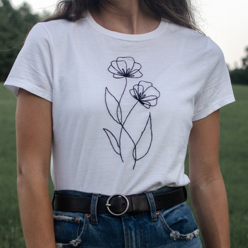 Line Art Flower Tee  Hand Embroidered T-Shirt Floral Tee Black Emb - White