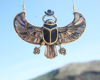 PECTORAL OF TUTANKHAMON Inlayed Egyptian scarab necklace, wingged scarab shell inlay, Egyptian jewelry, egyptian revival, goddess, ancient