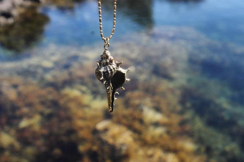 beach jewelry cast nature surf SPIKY Sea snail pendant gift women charm molded shell sea jewelry sea shell jewelry mermaid necklace