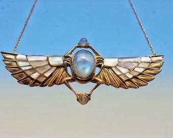 TUTANKHAMUN Revival necklace, white inlayed winged scarab, beatle jewelry, Egyptian Scarab, Kephri, moonstone, Egyptian jewelry, nacre inlay