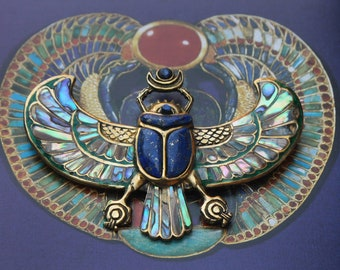 PECTORAL OF TUTANKHAMON Lapislazuli Egyptian scarab necklace, wingged scarab, beatle jewelry, abalone shell inlay, Egyptian jewelry, egypt