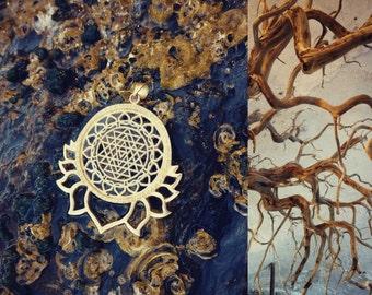 SRI YANTRA Fractal Lotus,  Shiva shakti Brass Pendant, brass jewelry, sacred geometry, lotus pendant, geometric pendant, spiritual gift