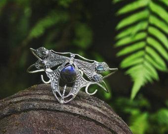Dragonfly Bracelet - frozen fire upperarm bracelet - fairytale jewelry - labradorite gemstones -  Sterling Silver bracelet - silver jewelry