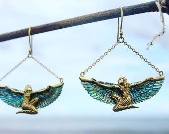 RISING MAAT abalone earrings, egyptian carved wings, shell wings, healing jewelry, goddess hoops, wing earrings, Isis jewelry, gift, boho