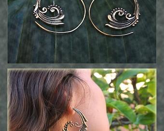 Brass Spiral Wave Earrings