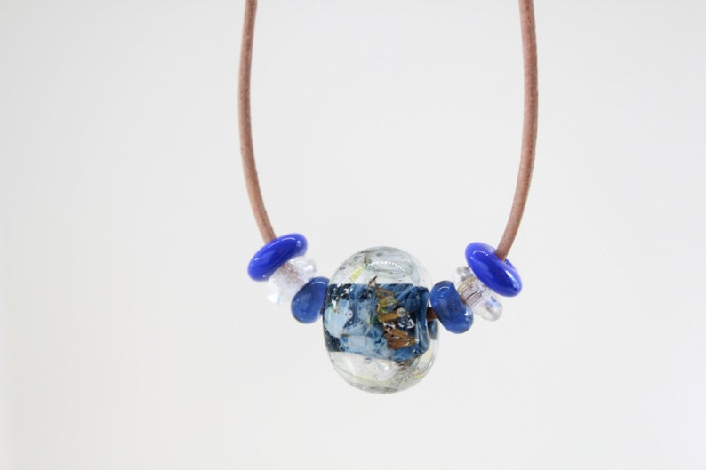 Adjustable Leather Necklace Blue Necklace Handmade Glass Lampwork Bead Necklace Bead Leather Necklace Cobalt Blue Necklace