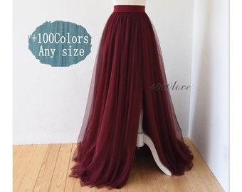 f47e4a011 Maxi Wine red slit skirt,frool length elegant,wedding photo shoot evenning  dating tulle skirt,bridesmaid dresses