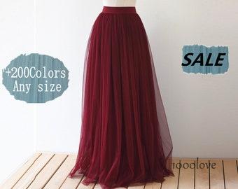Floor length adult tulle skirt,full length women wedding skirt,bridesmaid dresses,dark red tulle skirt, deep red wine red tulle skirt