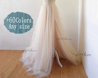 Adult bride softest split tulle skirt, long maxi tulle skirt with a train,evening long skirt,  bridesmaid dress,photo shoot tulle skirt,