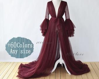 Custom Sheer tulle dress formal evening dresses,Plump sleeves photo shoot tulle dress,Maternity Photography,Tulle Maternity Gown,train dress