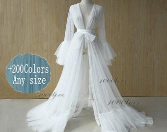 White Sheer tulle formal evening dresses,long sleeves photo shoot robe tulle dress,Maternity Photography,Tulle Maternity Gown, train dress