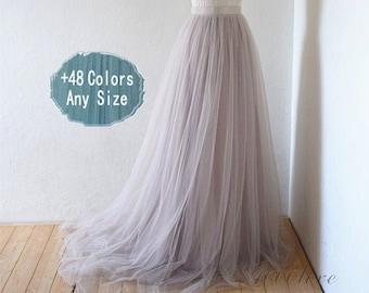 Coffee Brown Pearl Ivory Tulle SkirtShort Women SkirtTUTU Tulle SkirtWedding Bridal Bridesmaid SkirtKnee Length Bachelorette party Skirt