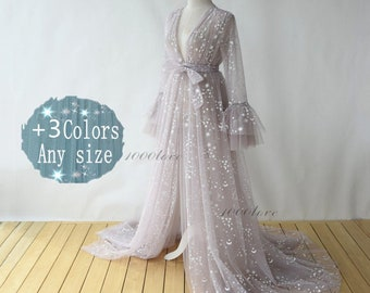 Sparkle sheer tulle formal evening dresses,long sleeves photo shoot tulle dress,Maternity Photography,Tulle Maternity Gown,tulle robe