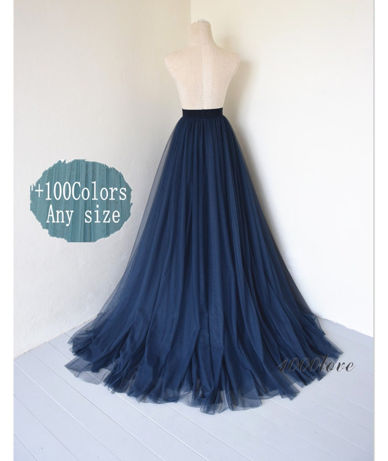 e18b2de0d2 Navy long maxi tulle skirt with a big trainbridesmaid   Etsy