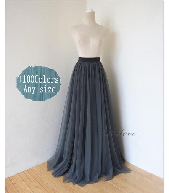 a3607f779 Maxi dark gray tulle skirtfloor length full length tulle | Etsy