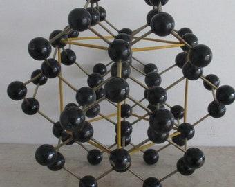 scientific patinated metal 1950s molecular atom model