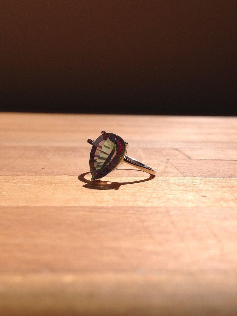 Pear-cut Rainbow Fire Mystic Topaz Ring
