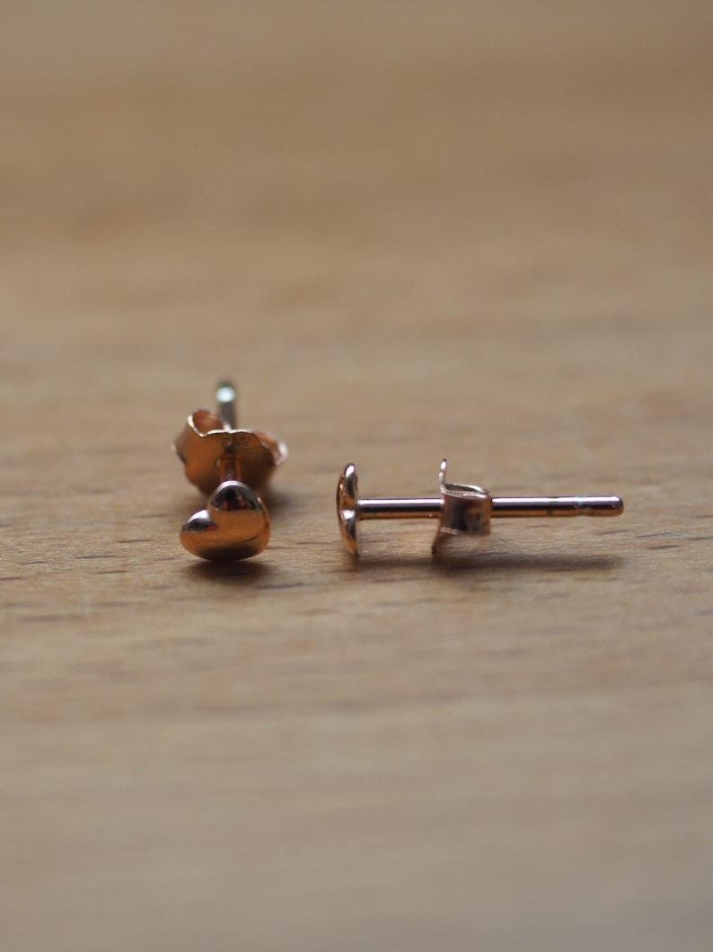 Minimalist silver or rose gold heart stud earrings