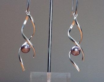 Silver helix purple swarovski pearl dangle earrings
