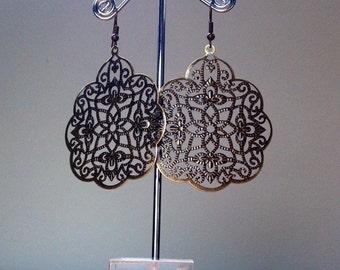 Antique brass gothic filigree earrings