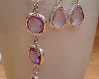 Light purple/ mauve framed crystal bracelet
