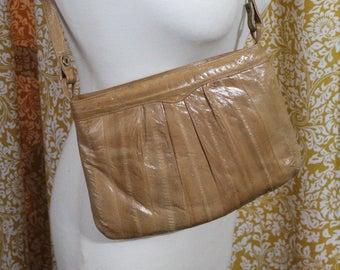 Vintage Light Brown Eel Skin Leather Shoulder Purse Bag