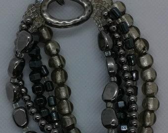 SILPADA Hematite Glass Stretch Bracelet 925