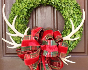 boxwood christmas wreath real preserved boxwood door decor faux reindeer antlers red plaid velvet ribbon traditional christmas decor - Christmas Wreaths Etsy
