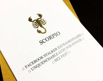 Scorpio Birthday Card - A6 - Tongue in Cheek Tour Through the Zodiac