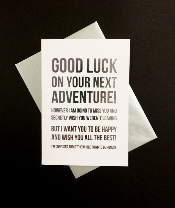 Good Luck on Your Next Adventure - A6, silver foiled greeting card
