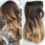 """HALO hair extensions, flip in 17"""" or 22"""" 120g HEXY wavy ombre secret wire synthetic hair extensions, black, brown, blonde balayage"""