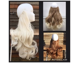"""24"""" long thick curly 190g HEXY SYN HALO or one piece clip in synthetic heat resistant hair extensions black brown auburn plum secret wire"""