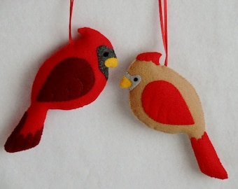 Cardinal Ornaments Cardinal Family Felt Ornaments Bird Ornaments Winter Bird Female Cardinal Babies Gift Set Handmade Christmas Ornaments