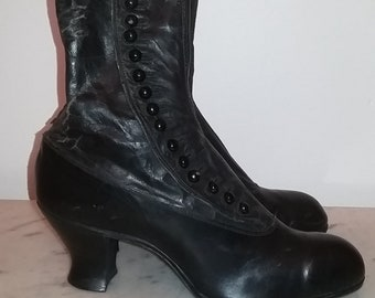 3de3df7e4b Antique Victorian Canadian lady thin black leather high ankle boots with  side buttons circa 1900s