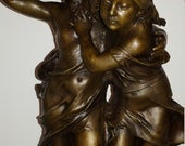 Large Neoclassical French bronze sculpture of girl and boy after Auguste Moreau circa 1930s