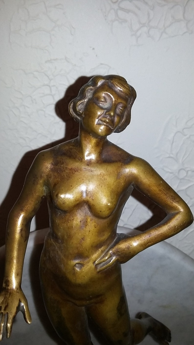 Antique Cast Brass Statue Art Deco Naked Lady Bowl Stand Lamp Base Antiques Decorative Arts