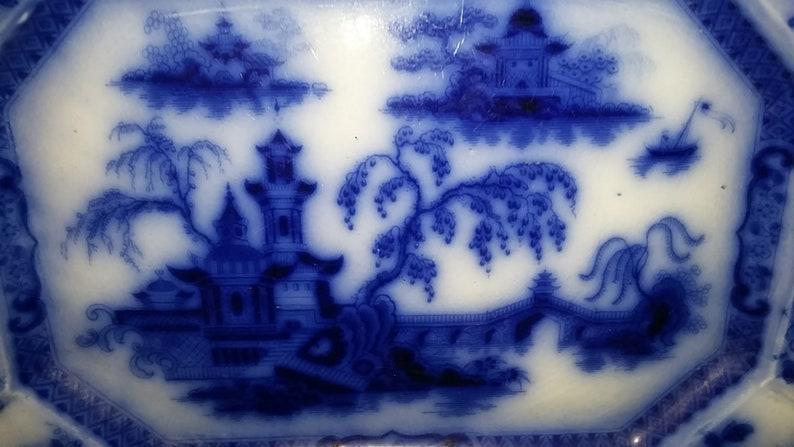 Antique Ironstone flow blue octagonal platter Asian pagoda PELEW pattern from E Challinor USA circa 1860s