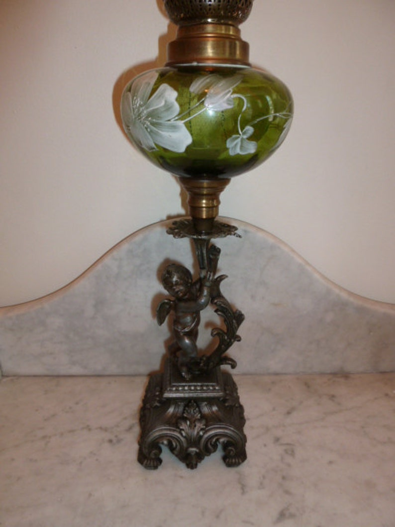 Antique French Cherub Angel Spelter Green Glass Hand Painted Etsy