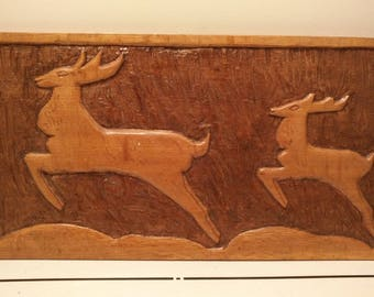 Art Deco antelopes wood carving wall plaque circa 1930s