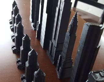 Skyscraper Chess Set // 3D Printed // Custom Building Chess Pieces